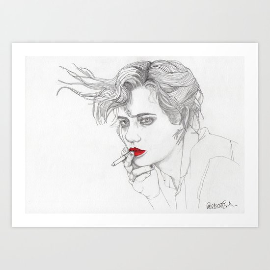GIRL With The CIGARETTE Art Print