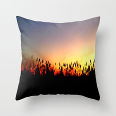 Sunset Reeds Throw Pillow