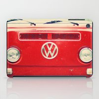 vw bus iPad Cases featuring Red VW Bus by Anna Dykema Photography
