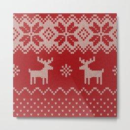 Christmas pattern knitting handmade scandinavian iIllustration with reindeer and heart Metal Print