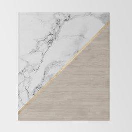 Modern white marble gold stripe wood color block Throw Blanket