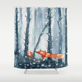 Foxes in forest Shower Curtain