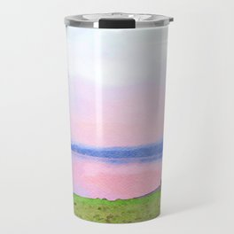 Calm Pink Sunset over Lake Windermere, Lake District, England Watercolor Painting Travel Mug