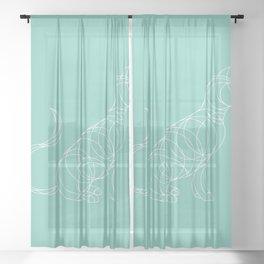 Geo Cat Mint Sheer Curtain