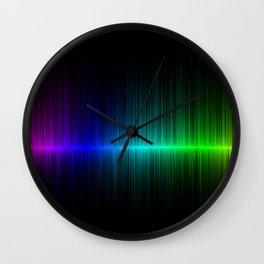 Rainbow Radio Waves Digital Illustration - Artwork Wall Clock