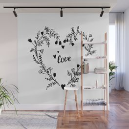 Floral heart Wall Mural