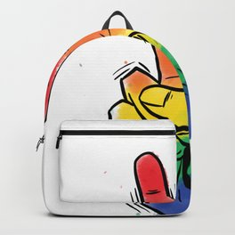 Hand drawn colorful hand doing peace symbol background Backpack