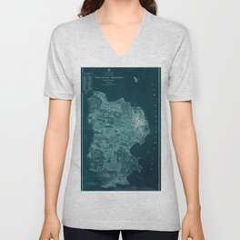 Map Of San Francisco 1857 Unisex V-Neck