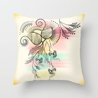 decorative Throw Pillows featuring Decorative Floral by famenxt