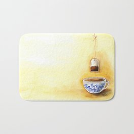 A cup of tea watercolor illustration Bath Mat