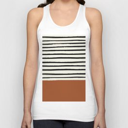 Burnt Orange x Stripes Unisex Tank Top