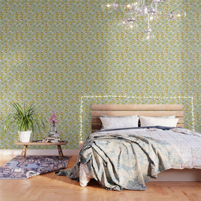 Mid Century Modern Graphic Leaves Pattern 1. Vintage green Wallpaper by  domvariwords