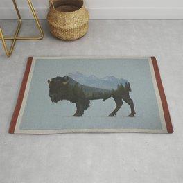 Wyoming Bison Flag Rug
