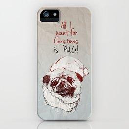 Christmas Pug iPhone Case