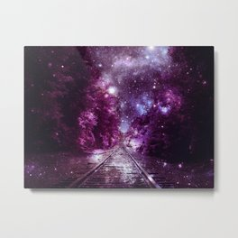 Dream Train Tracks : Next Stop Anywhere purple pink Metal Print