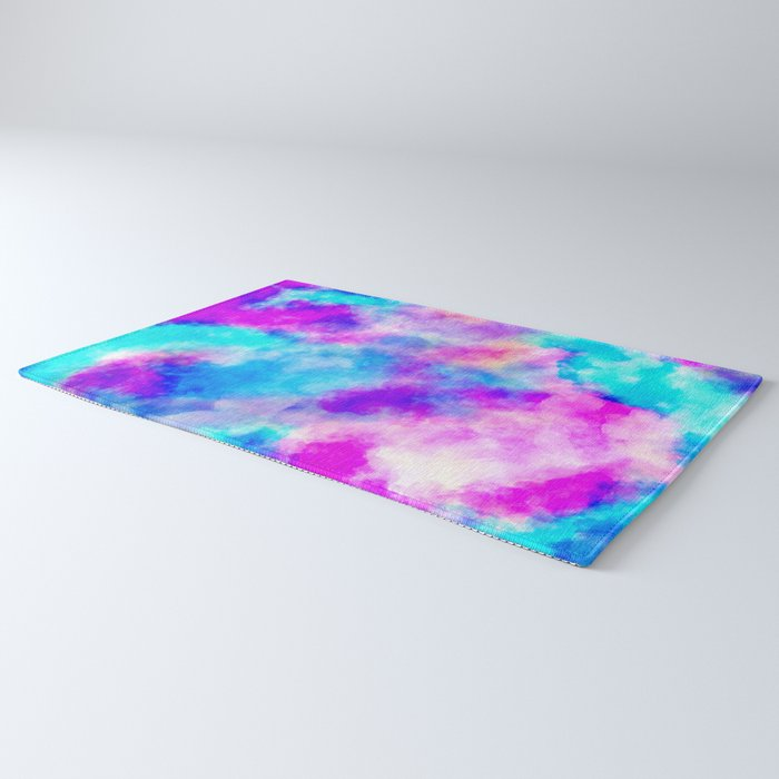 Modern hand painted neon pink teal abstract watercolor Rug