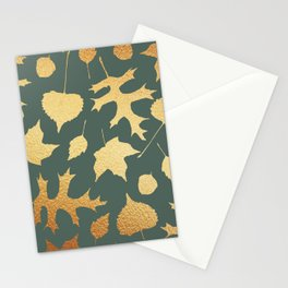 Autumn Elements Pattern (Gold&Sage) Stationery Cards
