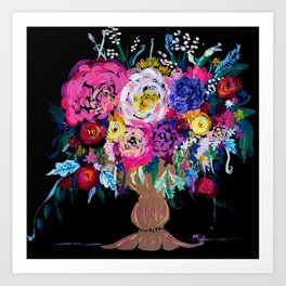 Bright Pinks, Purple, Orange and Yellow Bouquet in Gold Vase Floral Painting with Black Background Art Print