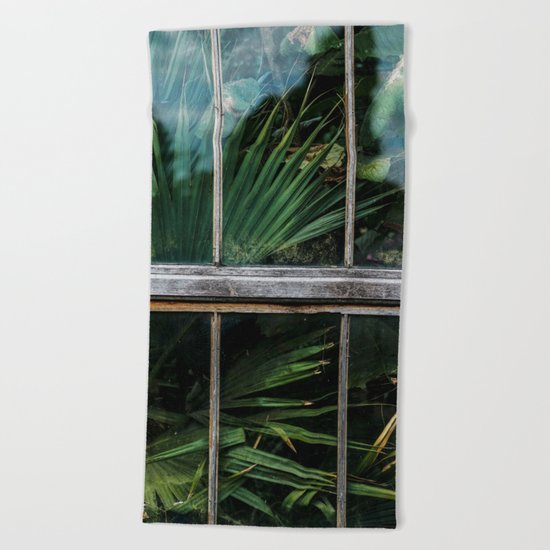 Botanical window Beach Towel