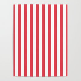 Coral Orangey-Red Tent Stripe Poster
