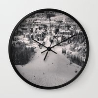 ski Wall Clocks featuring Ski town by snowboardobsessed350