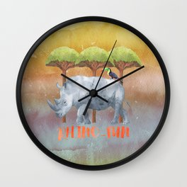 RHINO - FUN - rhinoceros - Africa Animal Wall Clock