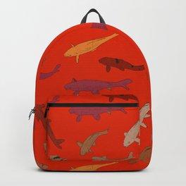 Koi carp. Brown orange yellow black outline on red background Backpack
