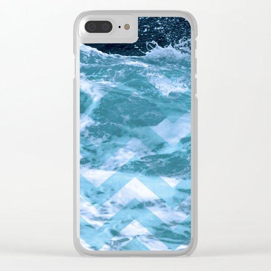 Blue Chevron Clear iPhone Case