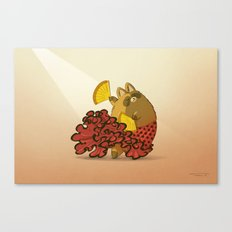 Tanuki and Flamenco Canvas Print