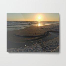 Fishing on the beach Metal Print