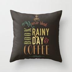 Coffee, book & rainy day Throw Pillow