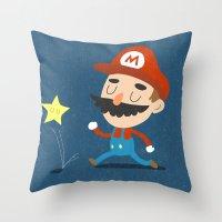 mario Throw Pillows featuring Mario by Rod Perich
