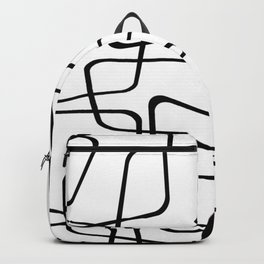 Mid Century Black And White Pattern Backpack