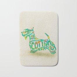 Scottish Terrier Dog Typography Art / Watercolor Painting Bath Mat