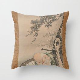 Soga Shōhaku - The God of Good Fortune Jurōjin Throw Pillow