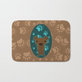 Bear with Paw Prints Bath Mat