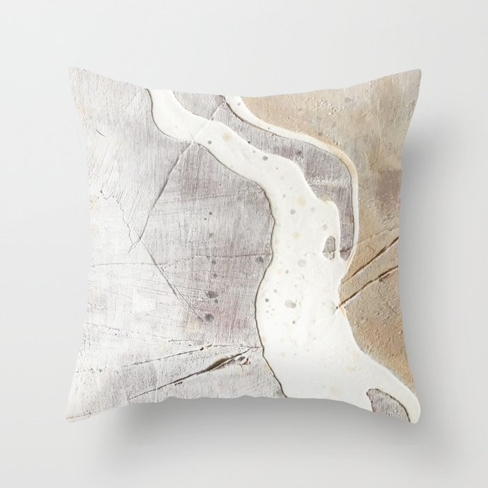 Feels: a neutral, textured, abstract piece in whites by Alyssa Hamilton Art Deko-Kissen