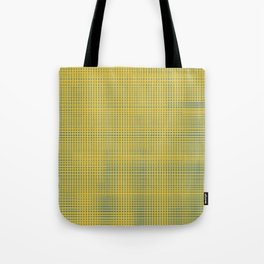 Blue squares becomes tiles on yellow background Tote Bag