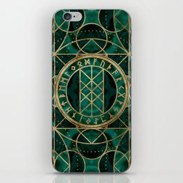 Web of Wyrd The Matrix of Fate - Gold and Malachite iPhone Skin