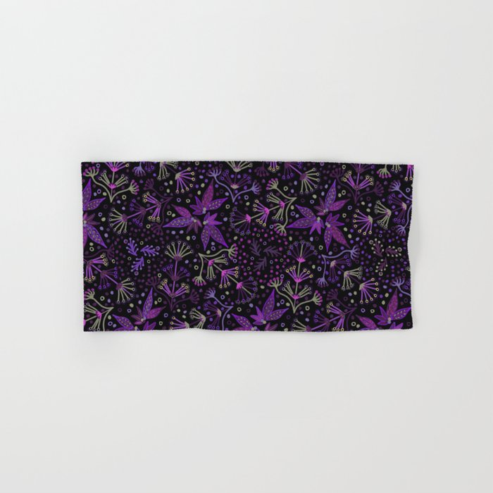 Purple Night Glow Flower Meadow , Rich Fuchsia Pink and Lilac Blooms  Glowing in the Dark Black Night Hand & Bath Towel