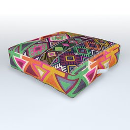 Aztec Artisan Tribal Bright Outdoor Floor Cushion