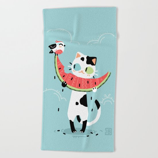 Watermelon Cat Beach Towel