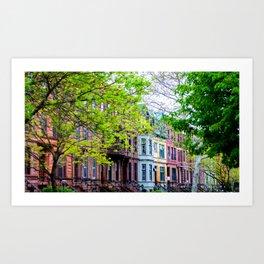 Brooklyn Rainbow Brownstones Art Print