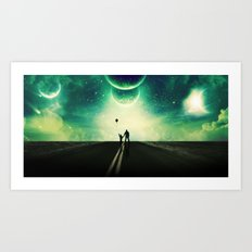 A Father and Son Walk Art Print