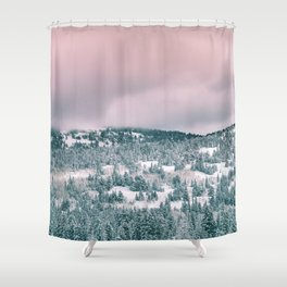 Blush Sky in Woodland Heights Shower Curtain