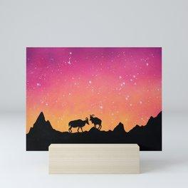 Capricorn Silhouette Mini Art Print