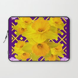 Wild Roses Gold Daffodil Purple Pattern Laptop Sleeve