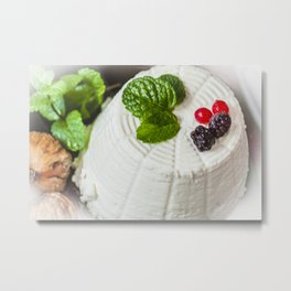 Fantasy of ricotta cheese, berries, dried figs and fresh mint Metal Print