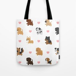 Dog Breeds with Hearts Tote Bag
