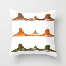 Monument Valley, 3 mountains, 3 colors Throw Pillow